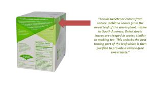 truvia box with statement arrow